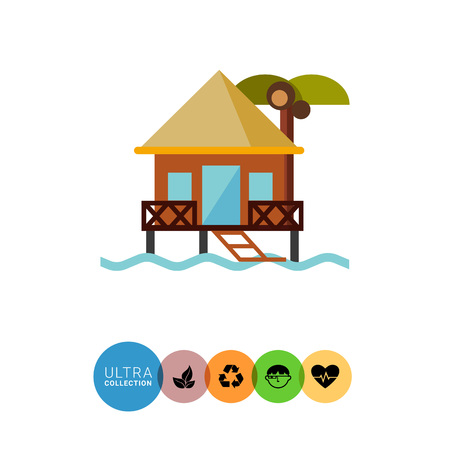 maldives island: Hotel on water icon. Multicolored vector illustration of bungalow Illustration