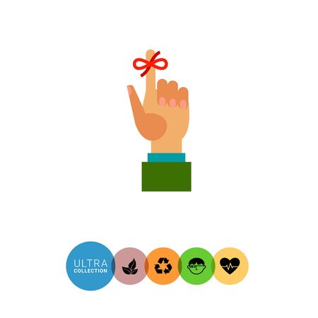 memorable: Multicolored vector icon of human hand and red bow