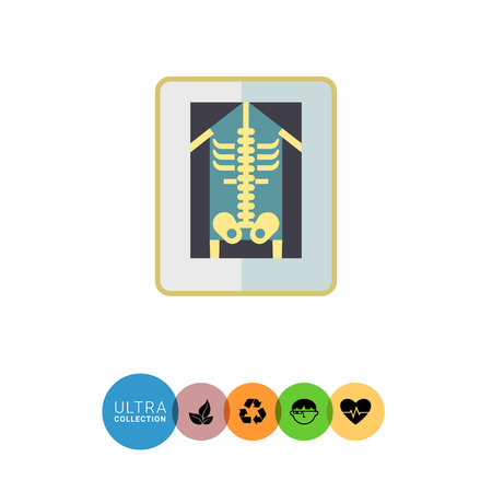 radiography: Multicolored vector icon of human making X-ray