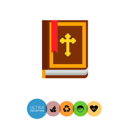 rite: Icon of brown Holy Bible book with Christian cross on cover and red bookmark