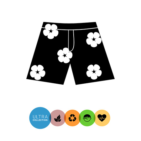 to spend the summer: Monochrome vector icon of Hawaiian shorts with flower print