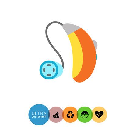 Multicolor icono plana del aparato de ayuda auditiva