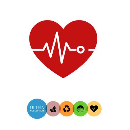 electrocardiograma: Icon of heart and electrocardiogram