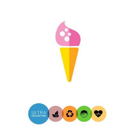flavored: Icon of pink ice cream in waffle cone Illustration
