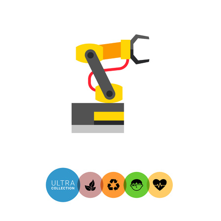 manipulating: Multicolored vector icon of industrial equipment. Manipulating industrial robot