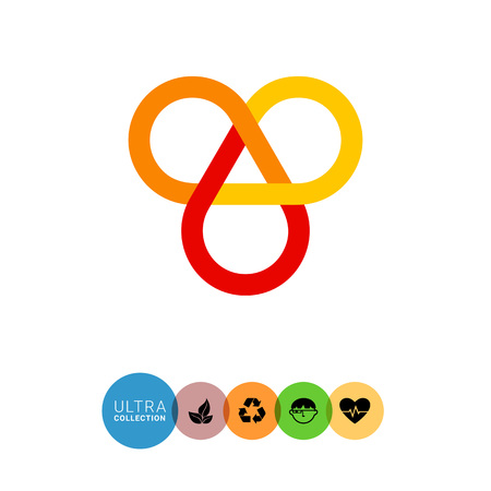 auspicious: Multicolored vector icon of infinite knot, one of eight auspicious symbols