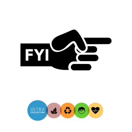 finger index: Vector icon of human hand with pointing index finger and FYI inscription