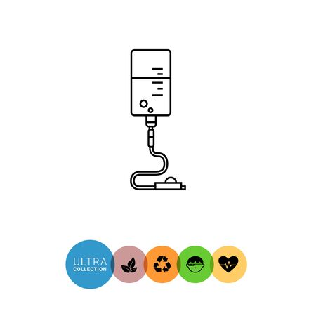 intravenous: Infusion drip icon. Line illustration of intravenous infusion set with drip chamber, tube and roller clamp Illustration