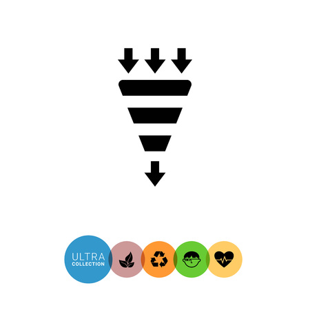 outcoming: Vector icon of funnel with incoming and outcoming arrows Illustration