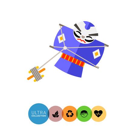 severe: Image of Japanese kite representing severe samurai wearing purple kimono
