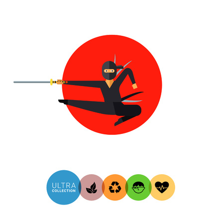 combatant: Image of jumping Japanese ninja with katana on background of red sun