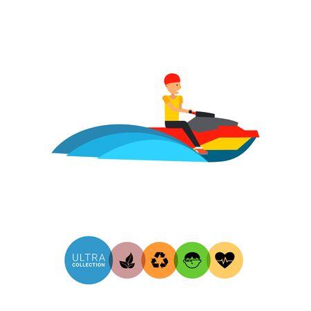watercraft: Multicolored flat icon of man riding jet ski watercraft
