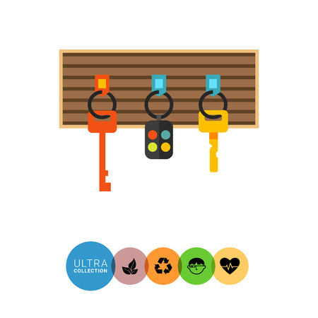 fob: Multicolored vector icon of keys and alarm keychain hanging on board Illustration