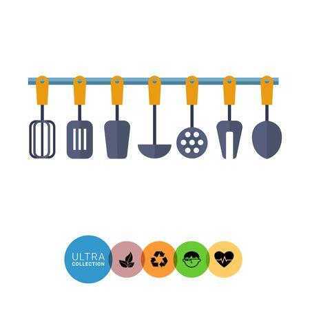 stirring: Multicolored vector icon of kitchen tools set Illustration