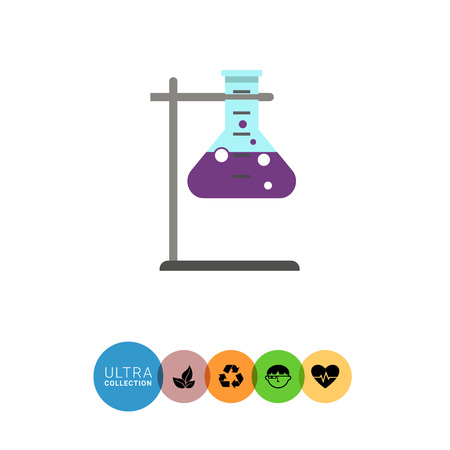 bubbling: Icon of chemical laboratory flask with bubbling liquid in holder Illustration