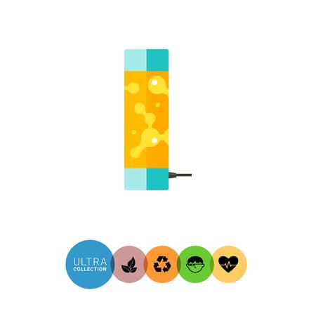 lava lamp: Multicolored vector icon of orange lava lamp