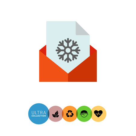 Multicolored vector icon of paper sheet with snowflake in red envelope Иллюстрация