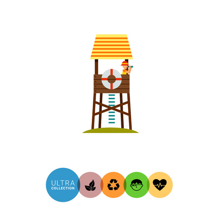 rescuing: Lifeguard tower on beach icon. Multicolored vector illustration of lifeguard tower with beach-rescuer watching binoculars
