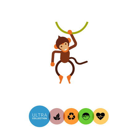liana: Vector icon of cute little brown monkey hanging on liana