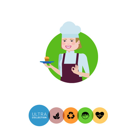 confectioner: Female character, portrait of smiling female confectioner holding plate with cupcake, showing okay gesture