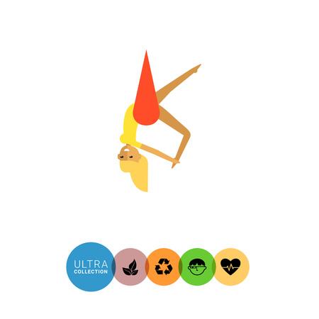 acrobat: Multicolored vector icon of female circus acrobat hanging on hammock Stock Photo