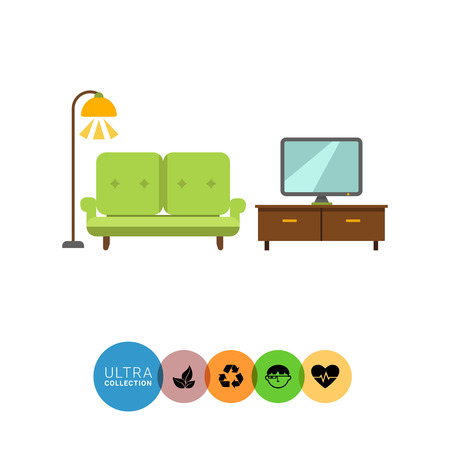 living room interior: Icon of living room interior including couch, TV stand, TV-set and glowing floor lamp Illustration