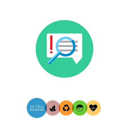 discussing: Icon of magnifying glass on important message with exclamation mark in speech bubble