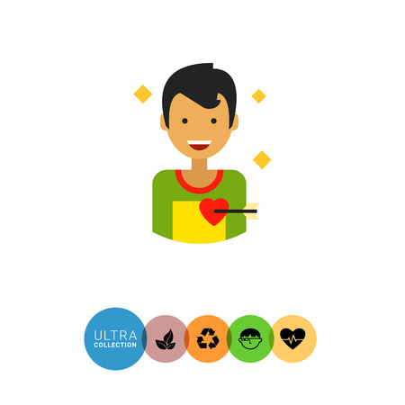 amor: Multicolored flat icon of happy male character portrait with heart pierced with love arrow