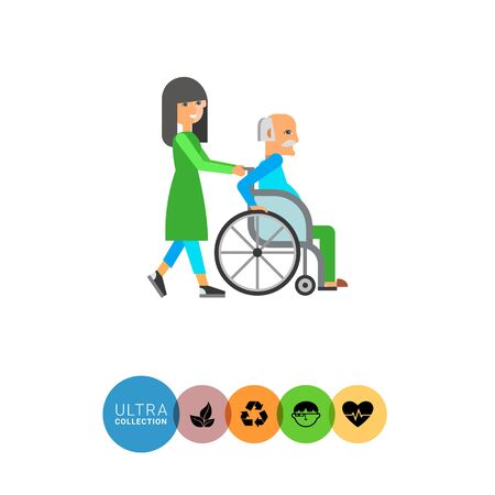 old person: Multicolored flat icon of old man in wheelchair assisted by nurse