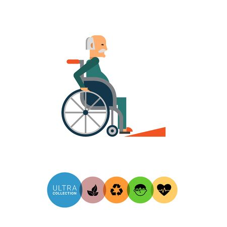 doorstep: Multicolored vector icon of old man in  wheelchair Stock Photo