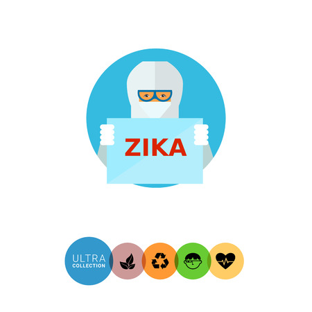 protective suit: Man with Zika sign icon. Multicolored vector illustration of person wearing chemical protective suit and holding Zika virus sign