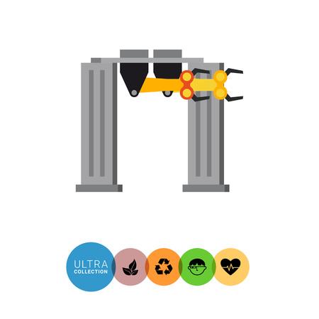 robotic: Multicolored vector icon of industrial equipment. Manufacturing robotic portal