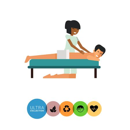 massaging: Multicolored vector icon of Asian woman massaging young man