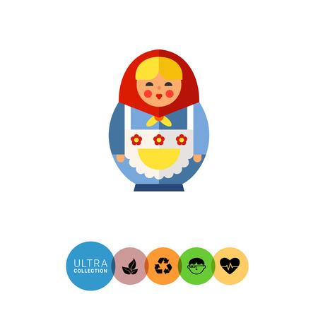 Multicolored vector icon of Russian doll matryoshka Illustration