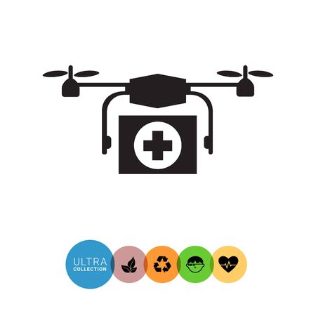 drug control: Vector icon of hovering medical emergency drone