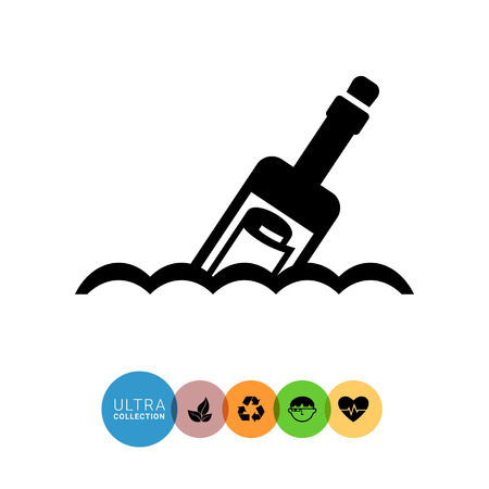 message in the bottle: Vector icon of scroll message in bottle floating on waves