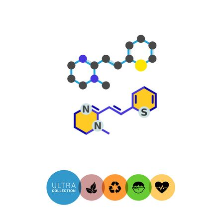 vector  molecular: Molecular structures flat icon. Multicolored vector illustration of molecular models Illustration