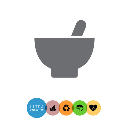mortar and pestle: Icon of mortar and pestle Illustration