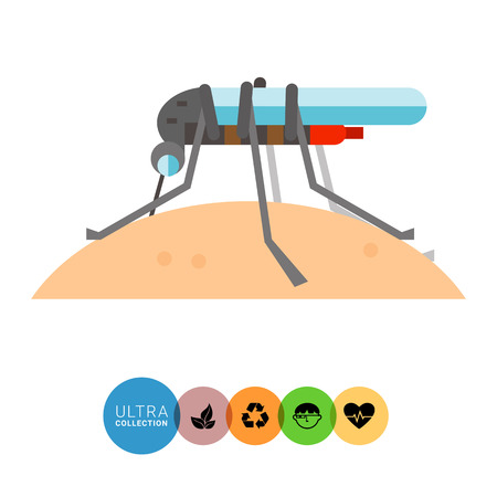 sucking: Mosquito sucking blood icon. Multicolored vector illustration of mosquito in profile sucking human blood