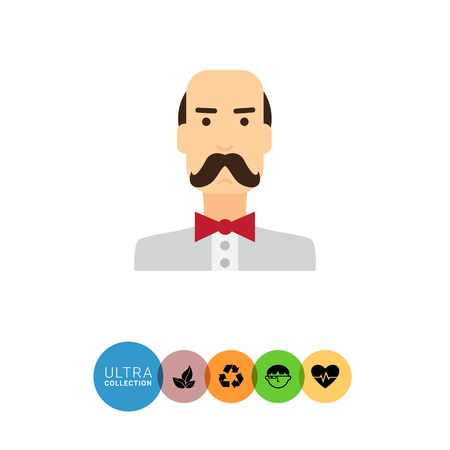 blank expression: Male character icon, portrait of balding man wearing moustache