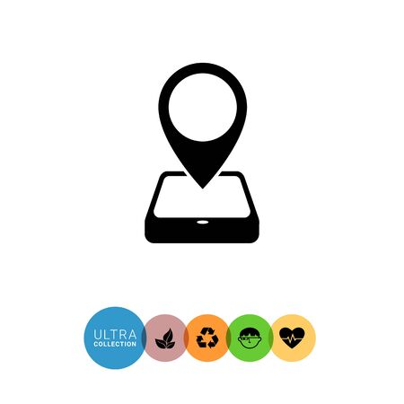 navigating: Icon of map pointer and smartphone