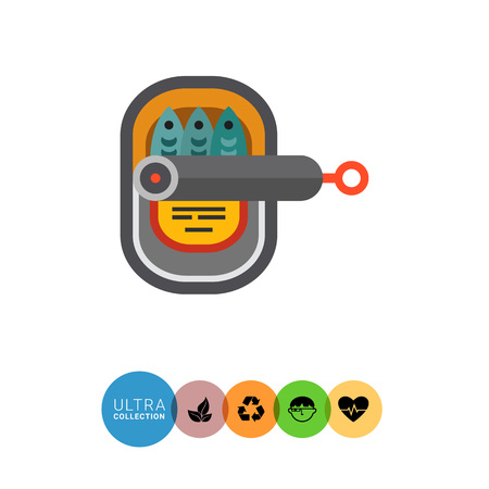 sardines: Multicolored vector icon of open can with sardines Illustration