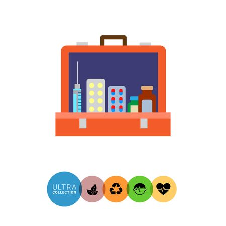 Multicolored vector icon of open first aid kit with pill bottles, capsules, syringe