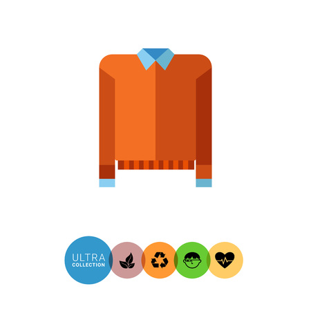 blue shirt: Multicolored vector icon of orange sweater and blue shirt