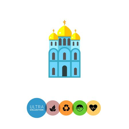 Icon of blue Orthodox church with three golden domes
