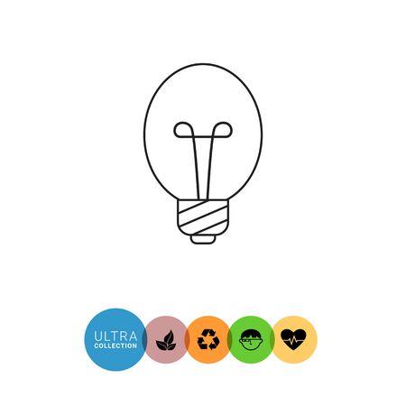 filament: Line icon of oval lightbulb Illustration