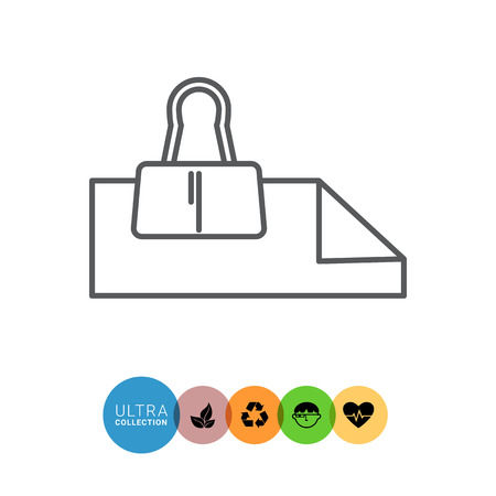 binder clip: Icon of paper sheets with binder clip Illustration