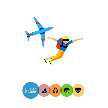 parachutist: Multicolored flat icon of parachutist having jumped from airplane Illustration