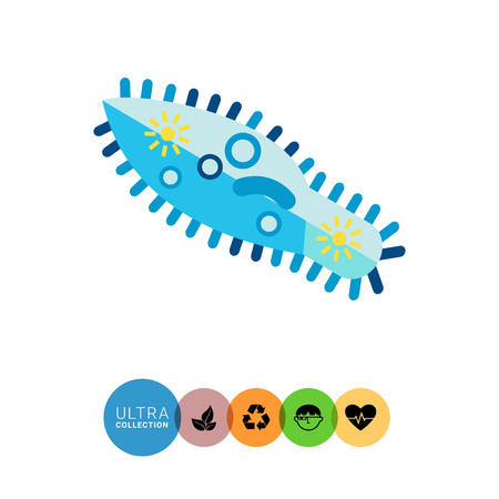 vacuole: Paramecium Caudatum Icon. Multicolored vector illustration of infusorium microorganism
