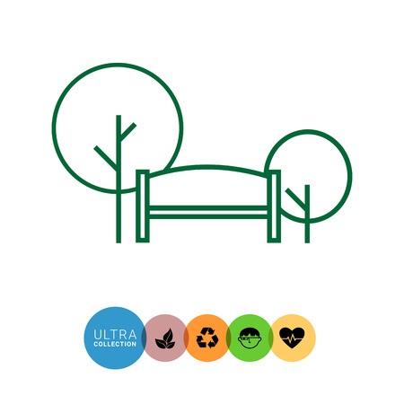 recreation: Icon of park sign with bench and trees